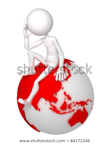 3d man sitting on earth globe in a thoughtful pose asian and australian side stock photo © kirill_m