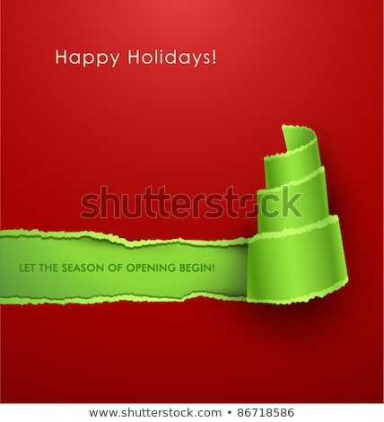 Rip paper card with Christmas tree Stock photo © gladiolus