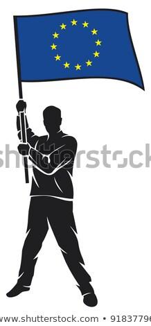 Europejski Unii banderą człowiek banner Zdjęcia stock © stevanovicigor