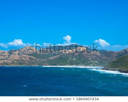 Beach, Calvi, sea and mountains from La Revellata in Corsica Stock photo © Joningall