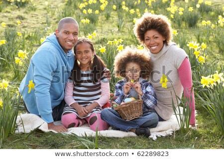 Family Relaxing In Field Of Spring Daffodils Stock photo © monkey_business