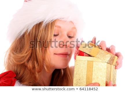 feliz · loiro · menina · abertura · apresentar · caixa · de · presente - foto stock © nejron