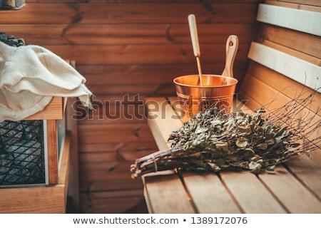 sauna · iç · ahşap · ahşap · lamba - stok fotoğraf © emirkoo