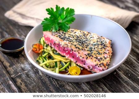 ızgara ton balığı biftek sebze beyaz Stok fotoğraf © simas2