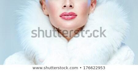 aantrekkelijk · meisje · gedekt · witte · bont · portret · mooie - stockfoto © aikon