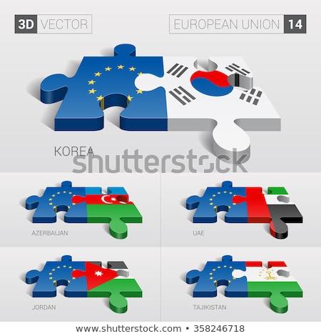Európai szövetség Azerbajdzsán zászlók puzzle vektor Stock fotó © Istanbul2009