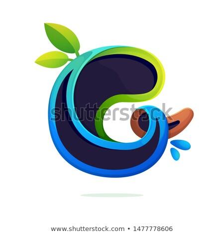 G betű zöld levél stilizált logotípus terv iroda Stock fotó © blaskorizov