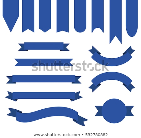 blank circle frame with blue ribbon stock photo © saicle