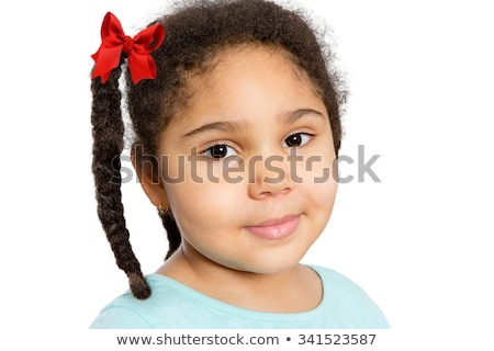 Cute Girl with Braided Curly Hair Looking at You Stock photo © ozgur