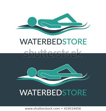 Atención cama azul vector icono diseno Foto stock © rizwanali3d