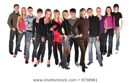 Długo tuzin młodych ludzi grupy uśmiech człowiek Zdjęcia stock © Paha_L