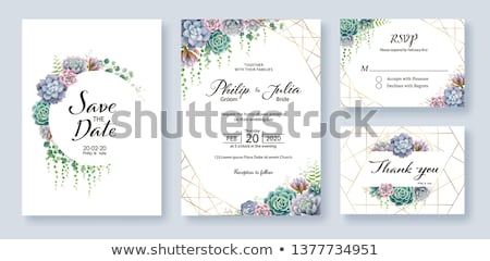 Stock photo: Love wedding invitation card, vector illustration