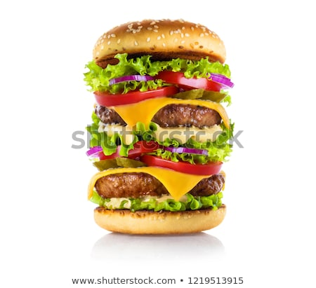 Nagy hamburger közelkép sajtburger kenyér vacsora Stock fotó © jarin13