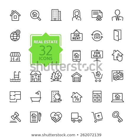 Stock fotó: Ház · vásárlás · vonal · ikon · háló · mobil