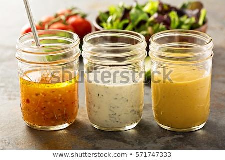 Salata sosu girdap kaşık sarı ev yapımı Stok fotoğraf © Digifoodstock