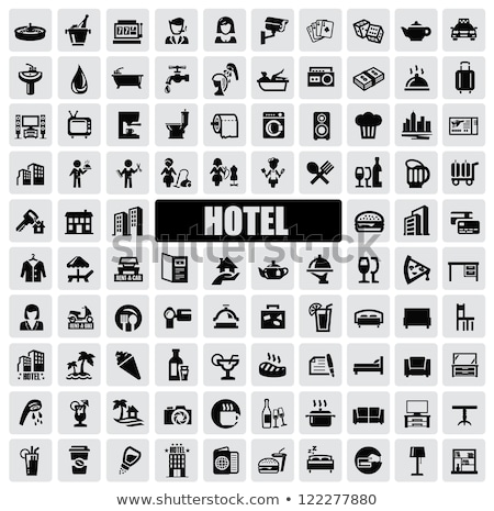 hotel service black icons set stock photo © genestro