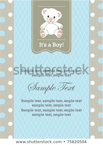 Stok fotoğraf: Beautiful Baby Boy Shower Card With Little Baby