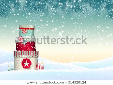 karácsonyi · üdvözlet · éjszaka · város · hó · fa · fény - stock fotó © beholdereye