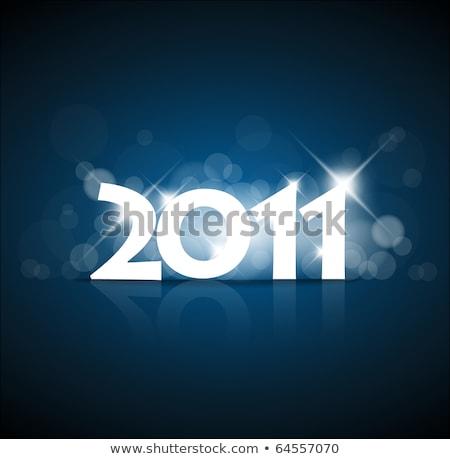 Nuovo anni carta 2011 fuochi d'artificio blu Foto d'archivio © orson