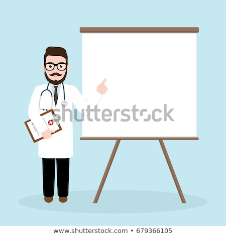 Doctor in medical gown giving presentation. Stock photo © RAStudio