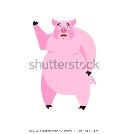 pig happy emoji piggy merry emotion on white background farm a stock photo © popaukropa