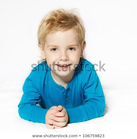 Mały chłopca żołądka uśmiechnięty biały baby Zdjęcia stock © julenochek