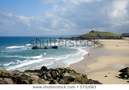 Low spring tide at Porthmeor beach in St. Ives, Cornwall, UK Stock photo © latent