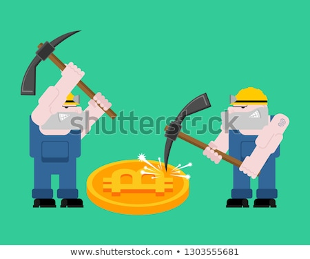 Mining bitcoin. Minir Extraction Crypto currency businessman scr Stock photo © MaryValery