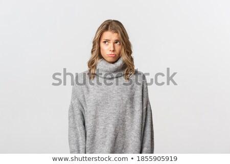 Portré szomorú zaklatott lány pulóver áll Stock fotó © deandrobot