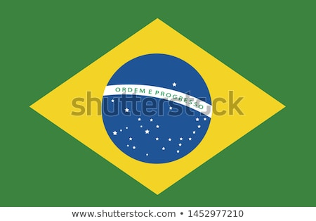 Stock photo: Waving fabric flag of Brazil