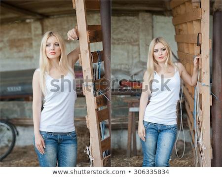 Jonge blond meisje verkenner illustratie kinderen Stockfoto © bluering