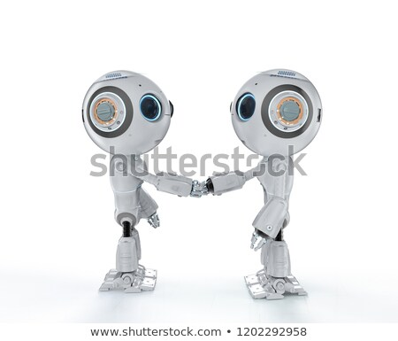 3D Humanoid robot shaking hands with another robot Stock photo © texelart