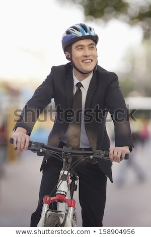Short hair businessman black_city bicycle stock photo © toyotoyo