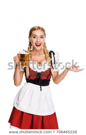 Oktoberfest waitress holding beer Stock photo © sumners