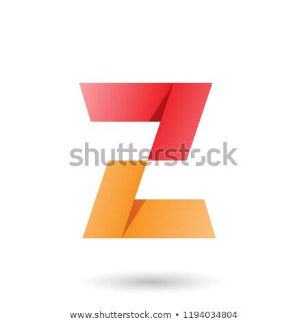 Red and Orange Folded Paper Letter Z Vector Illustration Stock photo © cidepix