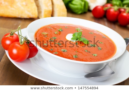 Fresco sopa de tomate tradicional tigela saúde fundo Foto stock © YuliyaGontar