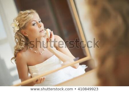 красивая · женщина · халат · электрических · зубная · щетка - Сток-фото © kzenon