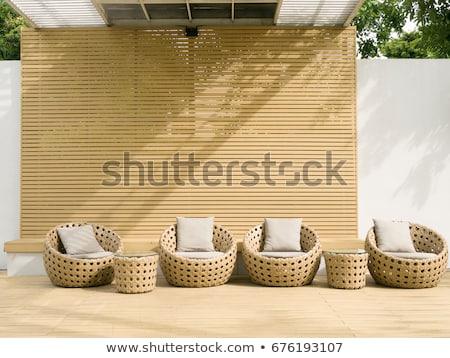 Houten patio outdoor meubels mooie boerderij Stockfoto © iriana88w