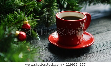 Hot beverage near decorated conifer branches Stock photo © dash