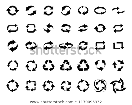 three circle clockwise arrows black icon vector illustration isolated on white background stock photo © kyryloff
