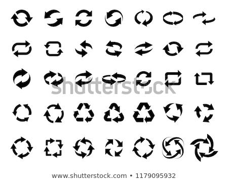 Three circle clockwise arrows black icon. vector illustration isolated on white background. Stock photo © kyryloff