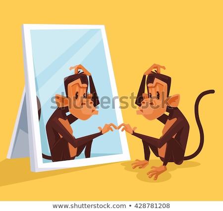 Desenho animado estúpido chimpanzé ilustração gráfico vetor Foto stock © cthoman