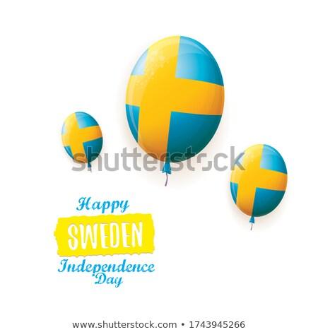 Svédország · szalag · zászló · kék · ég · terv · kereszt - stock fotó © doomko