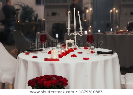 Christmas or Valentines day table setting Stock photo © karandaev