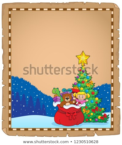 Christmas tree and gift bag parchment 1 Stock photo © clairev