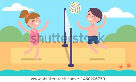 Cartoon sorridere spiaggia pallavolo giocatore ragazzo Foto d'archivio © cthoman