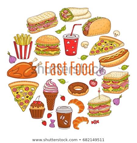 пиццы сэндвич набор плакатов Последние новости Сток-фото © robuart