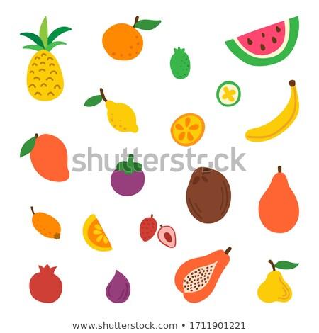 Banana fruta tropical ananás conjunto vetor maduro Foto stock © robuart