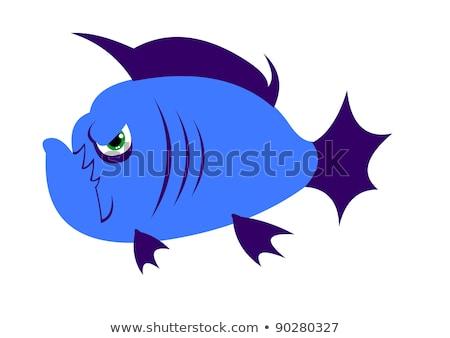 Desenho animado piranha amor ilustração sorridente Foto stock © cthoman