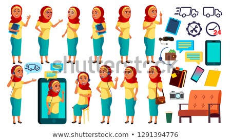 Arab, Muslim Teen Girl Poses Set Vector. Friendly, Cheer. Online Helper, Consultant. For Banner, Fly Stock photo © pikepicture